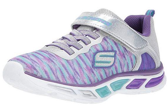 Skechers S Lights Litebeams Colorburst Kinder Sneaker 10767L (Silber/Violett - SLPR)