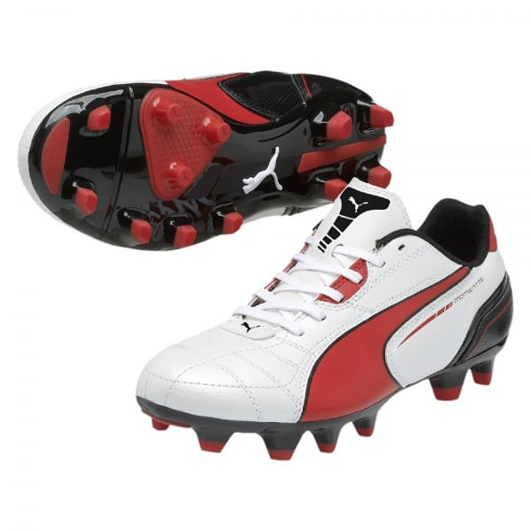 Puma Momentta FG Jr (metallic white-high risk red-black)