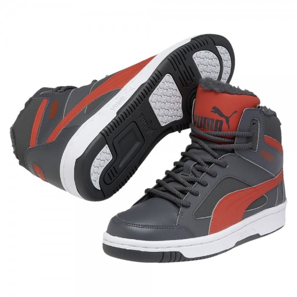 Puma Rebound v2 Hi Jr Winter (dark shadow-grenadine)