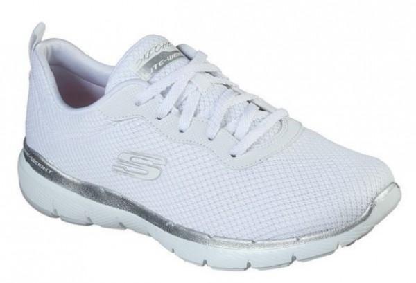 Skechers Flex Appeal 3.0 – First Insight Damen Sneaker 13070(Weiß/Silber-WSL)