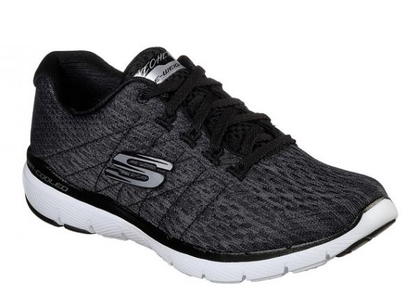 Skechers Flex Appeal 3.0 - Satellites Damen Sneaker 13064 (Schwarz-BKW)