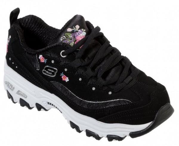 Skechers D'Lites - Bright Blossoms Kinder Sneaker 80589L (Schwarz-BLK)
