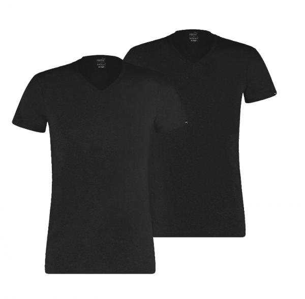 Puma 2er Pack Basic V-Neck Herren T-Shirt 100000890 (Schwarz 001)