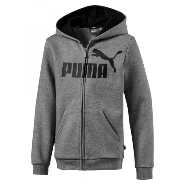Puma ESS Logo Hooded Jacket FL B Kinder Jacke 852102 (Grau 03)
