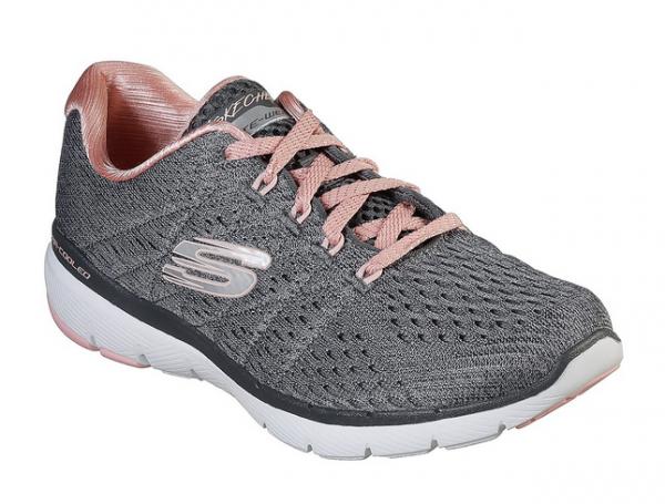 Skechers Flex Appeal 3.0 - Satellites Damen Sneaker 13064 (Grau-CCPK)