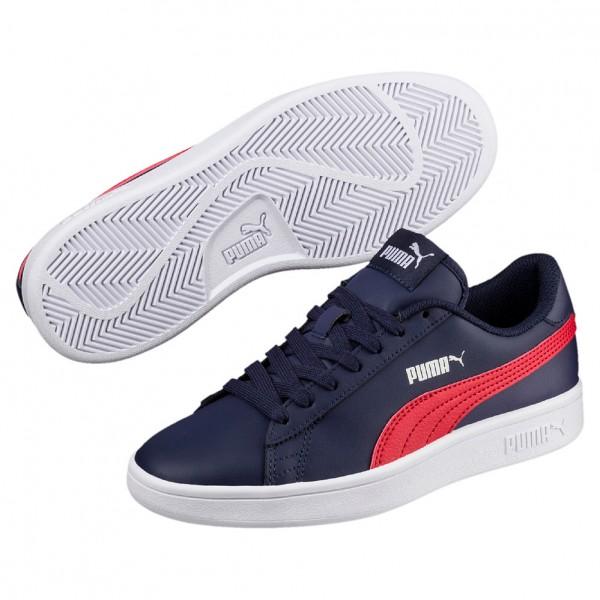 Puma Smash V2 L Jr Kinder Sneaker 365170 (Peacoat-Ribbon Red-White 06)
