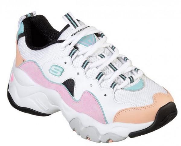 Skechers D'Lites 3 - Zenway Damen Sneaker(Weiß-WPKB)