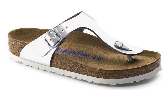 Birkenstock Gizeh NL WB Damen Sandale schmal 1003675 (Metallic Silber)