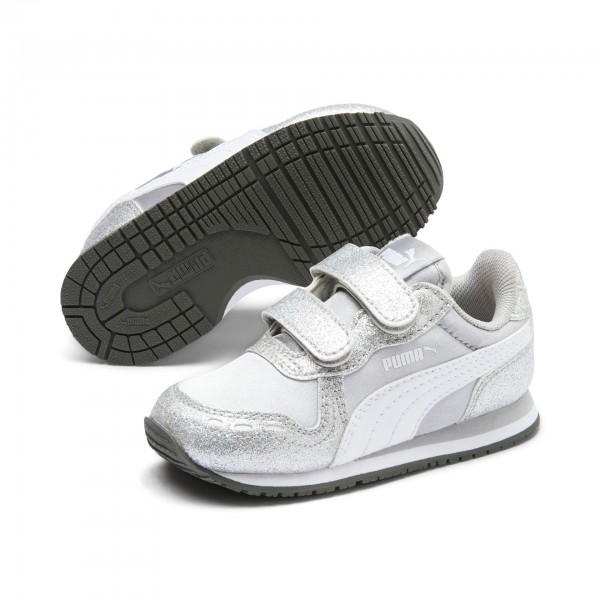 Puma Cabana Racer Glitz V Inf Kinder Sneaker 370986 (Silber 01)