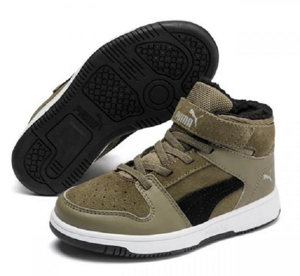 Puma Rebound Layup Fur SD V PS Kinder Sneaker 370498(Grün-02)