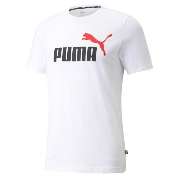 Puma ESS+ 2 Col Logo Tee Herren T-Shirt 586759 (Weiß 02)