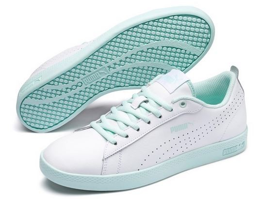 Puma Smash Wns V2 L Perf (White-Fair/Aqua 06)