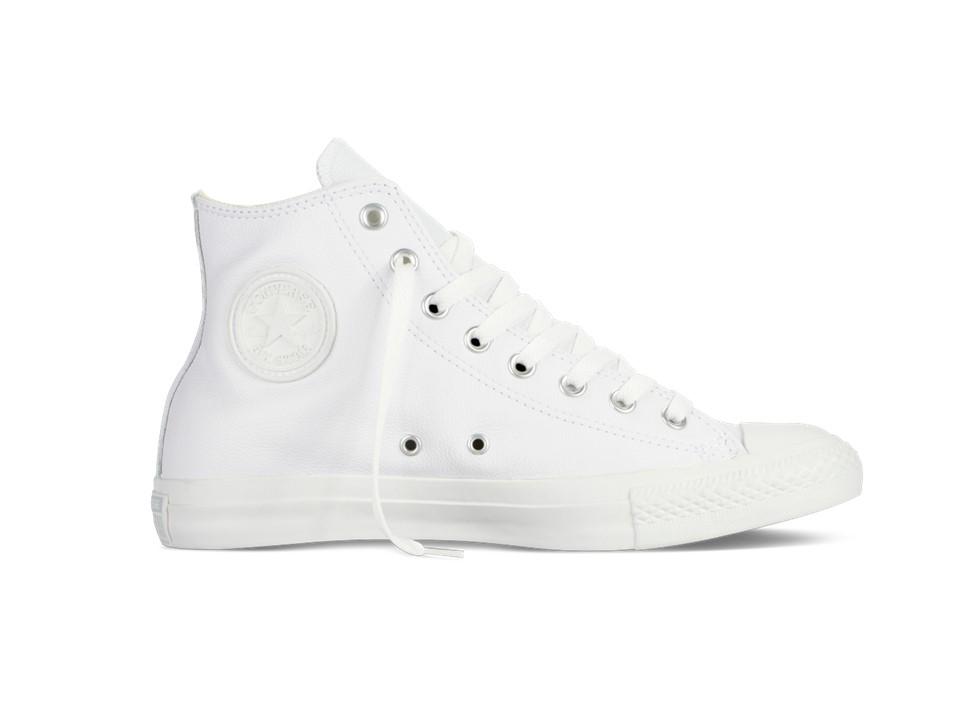 Converse Chucks Taylor All Star Leder Hi Monochrome Sneaker 1T406 (weiß)