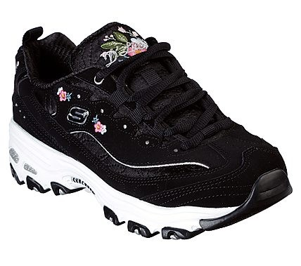 Skechers D'Lites - Bright Blossoms Damen Sneaker 11977 (Schwarz-BLK)