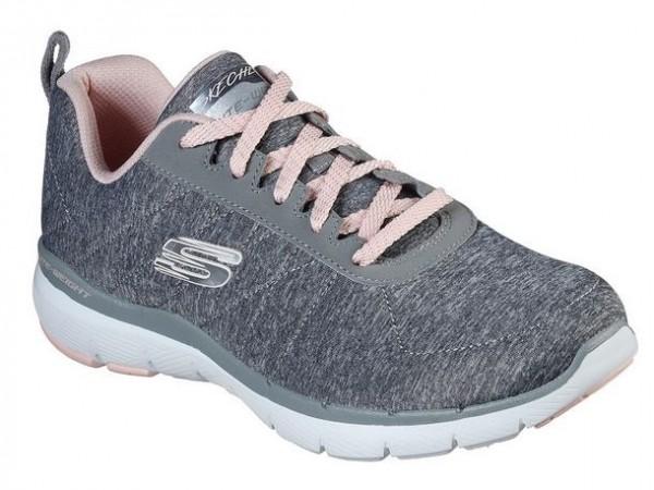 Skechers Flex Appeal 3.0 – Insiders Damen Sneaker 13067 (Grau/Rosa-GYLP)