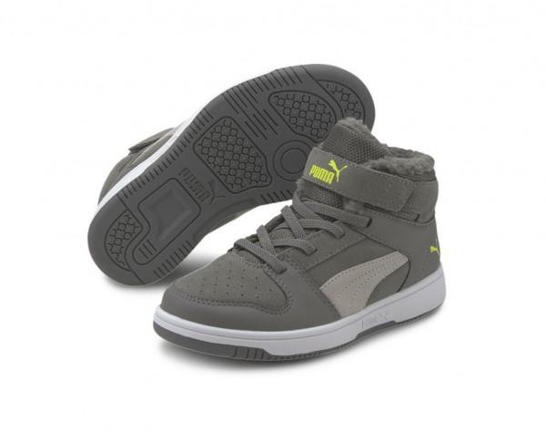 Puma Rebound Layup Fur SD V PS Kinder Sneaker 370498 (Grau 05)