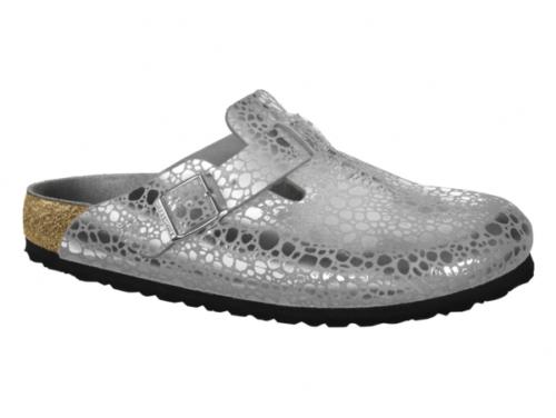 Birkenstock BOSTON Birko-Flor Damenclogs 1012208 (Metallic Stones Silver Gray)