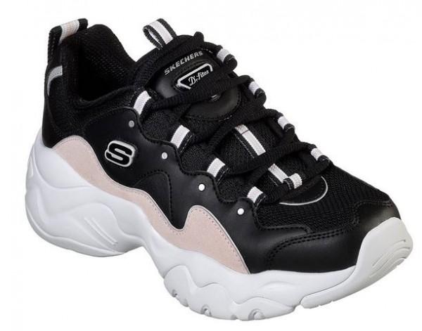 Skechers D'Lites 3 - Zenway Damen Sneaker (Schwarz/Rosa-BKPK)