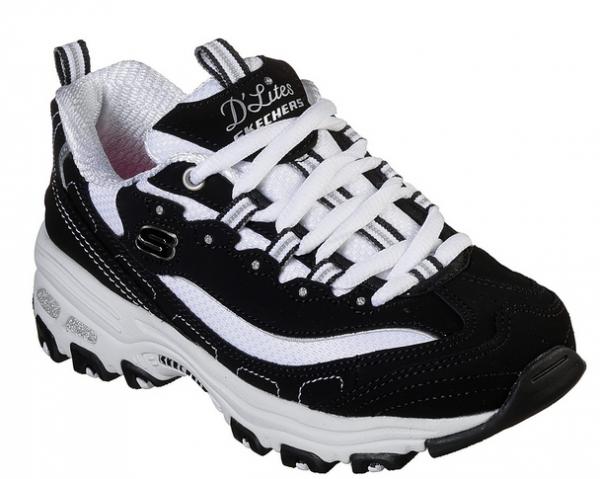 Skechers D'Lites – Biggest Fan Kinder Sneaker (Schwarz/Weiß-BKW)