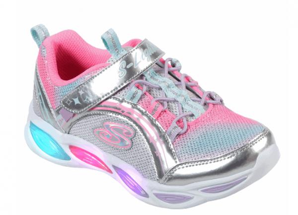 Skechers S Lights: Shimmer Beams Kinder Sneaker 20269L (Silber-SMLT)