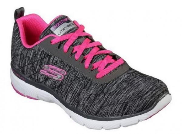 Skechers Flex Appeal 3.0 – Insiders Damen Sneaker 13067 (Schwarz/Pink BKHP)