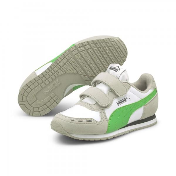 Puma Cabana Racer SL V PS Kinder Sneaker 360732 (Weiß/Grün 89)
