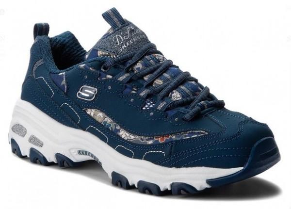 Skechers D'Lites - Floral Days Damen Sneaker 13082(Blau - NVY)