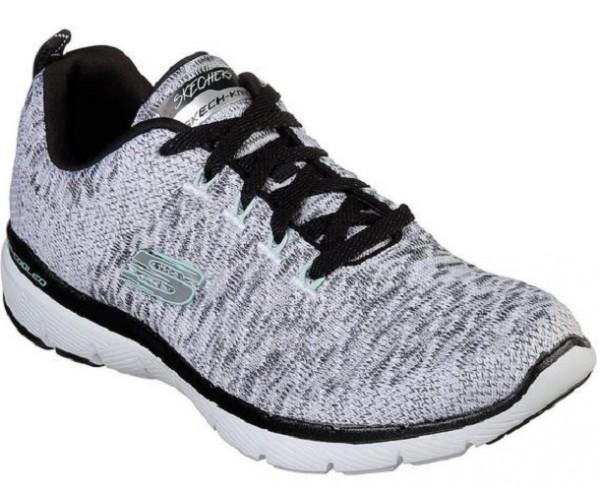 Skechers Flex Appeal 3.0 Damen Sneaker 13062(Weiß/Schwarz-WBK)