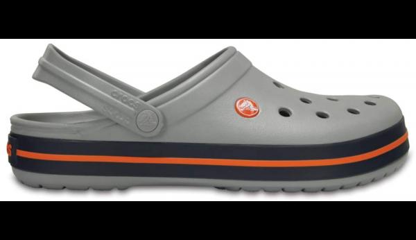Crocs Crocband Clogs (Light-Grey-Navy)
