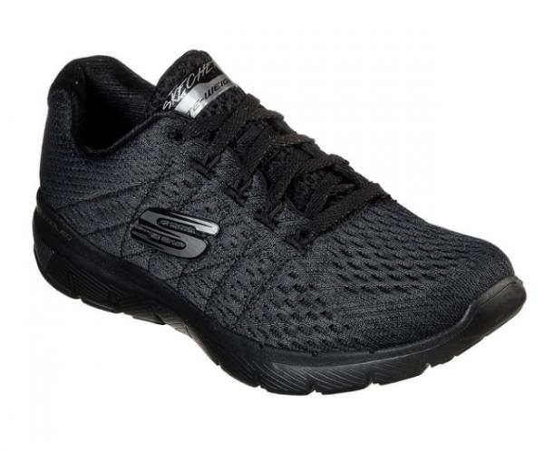 Skechers Flex Appeal 3.0 - Satellites Damen Sneaker 13064 (Schwarz-BBK)