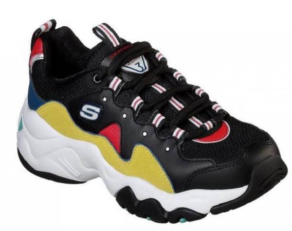 Skechers D'Lites 3 - Zenway Damen Sneaker (Schwarz-Gelb-BKYL)