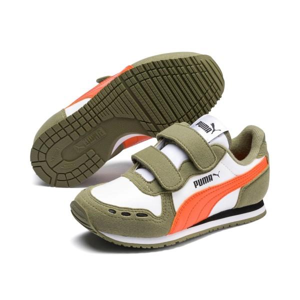 Puma Cabana Racer SL V PS Kinder Sneaker 360732 (Weiß/Grün 83)