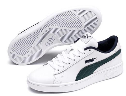 Puma Smash v2 L Jr Kinder Sneaker 365170 (Weiss-Grün 10)