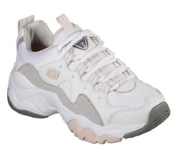 Skechers D'Lites 3 - Zenway Damen Sneaker (Weiß/Grau-WGPK)