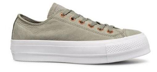 Converse Chucks Taylor All Star Clean Lift Ox Damen Sneaker 561399C (Dark Stucco/White)