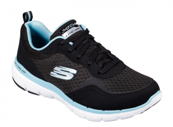 Skechers Flex Appeal 3.0 - Go Forward Damen Sneaker 13069 (Schwarz-BKTQ)