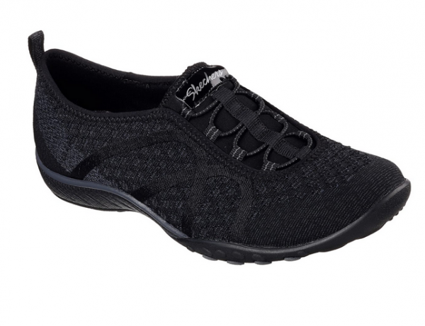Skechers Relaxed Fit: Breathe Easy - Fortune-Knit Damen Sneaker (Schwarz-BLK)