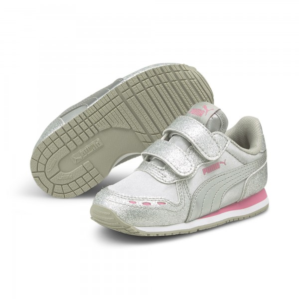 Puma Cabana Racer Glitz V Inf Kinder Sneaker 370986 (Silber 08)