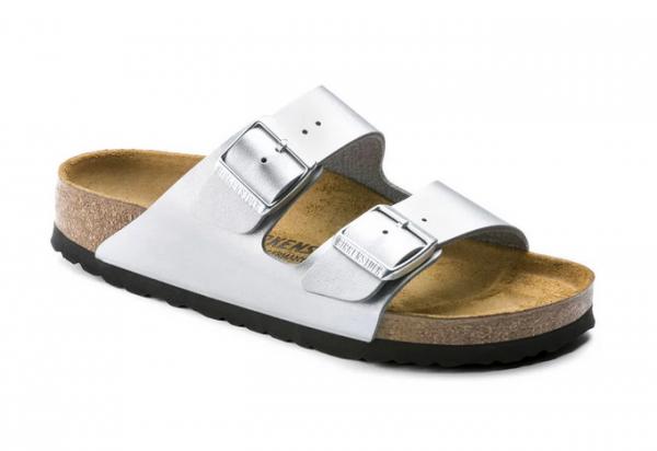 the latest bc148 ec01c Birkenstock Arizona Birko-Flor Damen Sandale normal 1012282 (Silber)