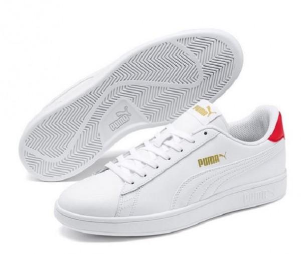 Puma Smash v2 L Herren Sneaker 365215 (Weiß/Rot-17)