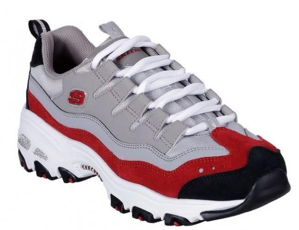 Skechers D'Lites - Sure Thing Damen Sneaker (Grau/Rot-GYRD)
