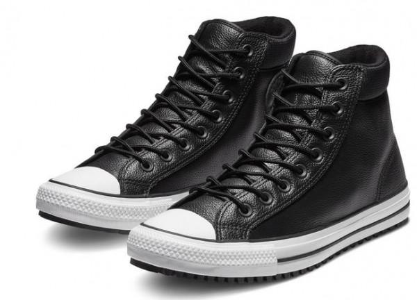 Converse Chuck Taylor All Star Leder Hi Stiefel Boot 162415C (Schwarz)