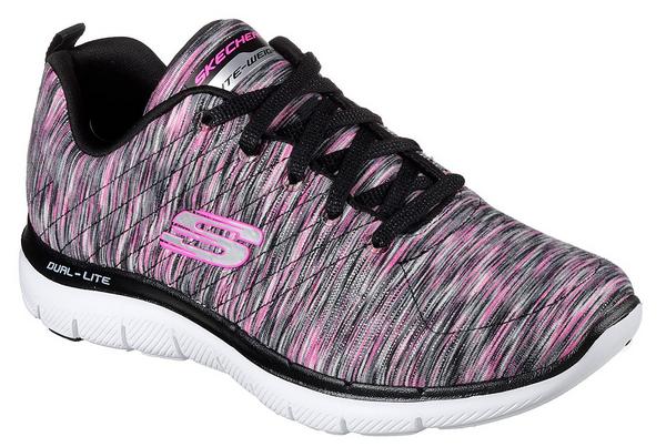 Skechers Flex Appeal 2.0 - Reflections Damen Sneaker 12908 (Schwarz-BKHP)
