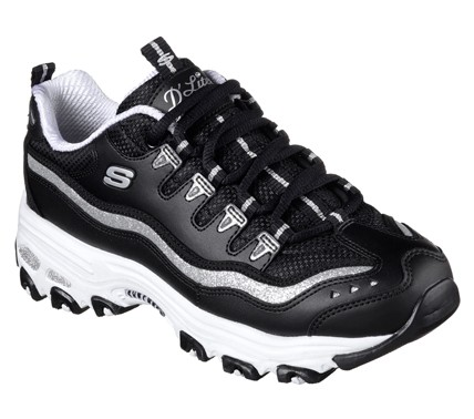 Skechers D'Lites - Now and Then Damen Sneaker 11923 (Schwarz-BKSL)