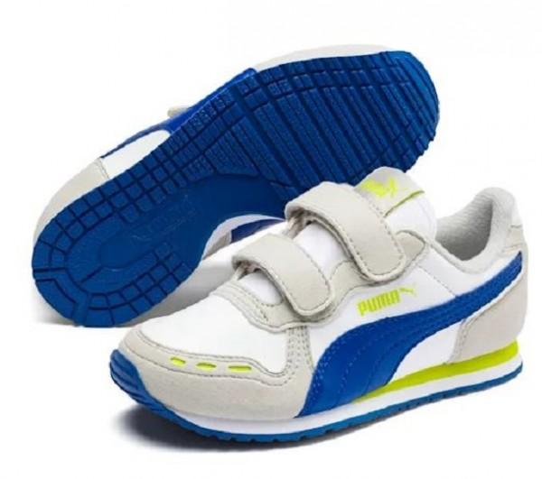 Puma Cabana Racer SL V PS Kinder Sneaker 360732 (Weiß/Blau 77)