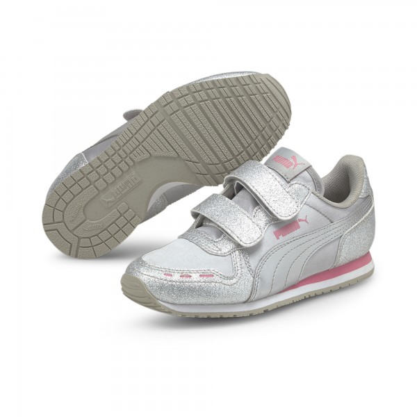 Puma Cabana Racer Glitz V PS Kinder Sneaker 370985 (Silber 08)