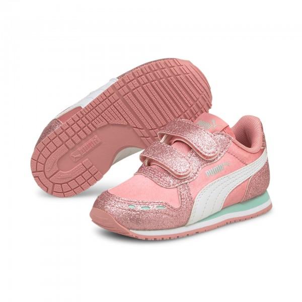 Puma Cabana Racer Glitz V Inf Kinder Sneaker 370986 (Rosa 09)