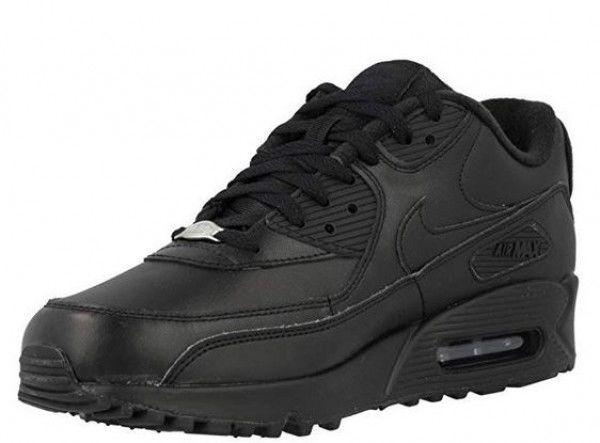 Nike Air Max 90 Leather Herren Sneaker (Schwarz 001)