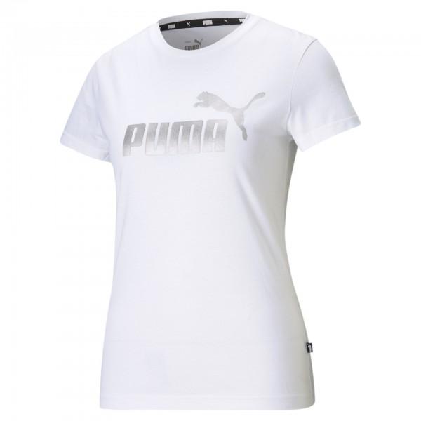 Puma Ess + Metallic Logo Tee Damen Shirt 586890 (Weiß 02)